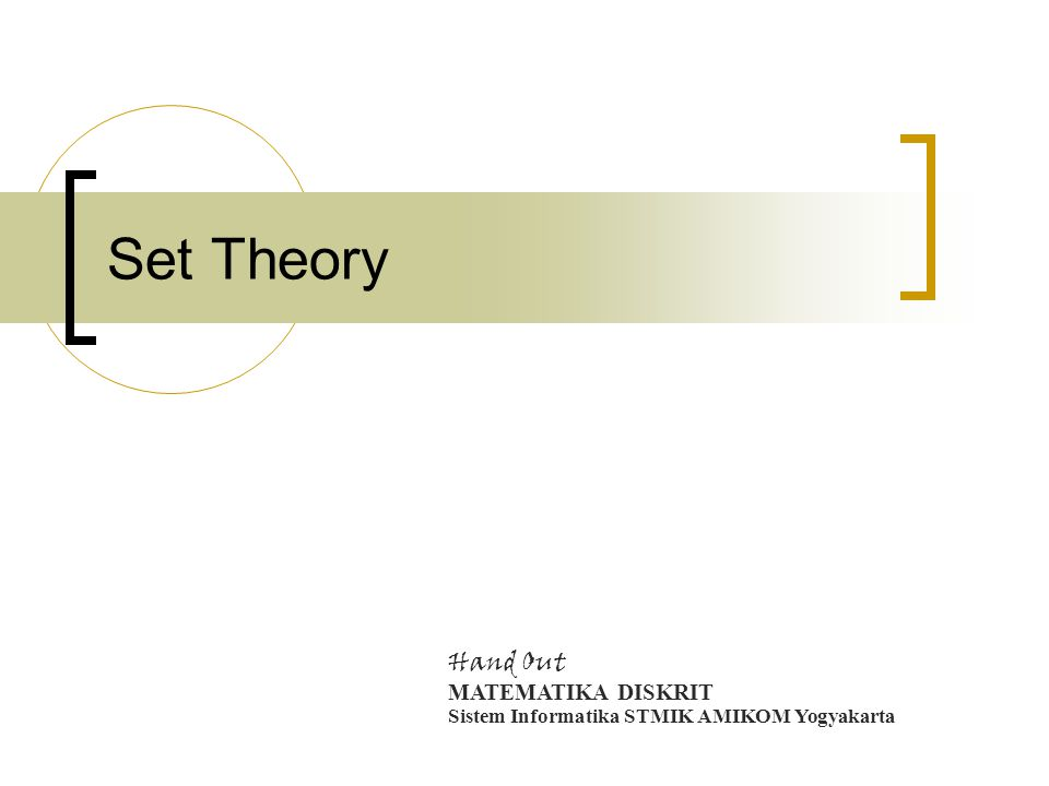 Set Theory Hand Out MATEMATIKA DISKRIT