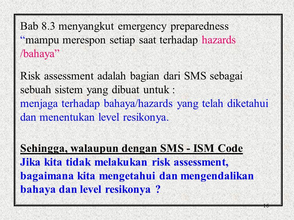 Bab 8.3 menyangkut emergency preparedness