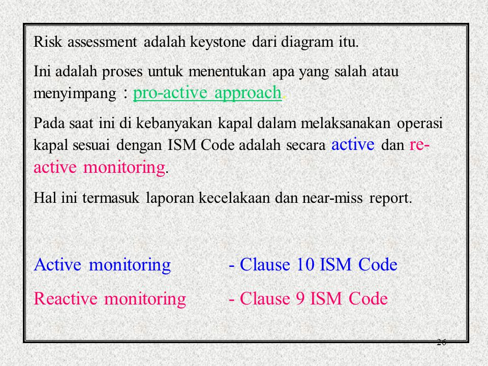 Active monitoring - Clause 10 ISM Code