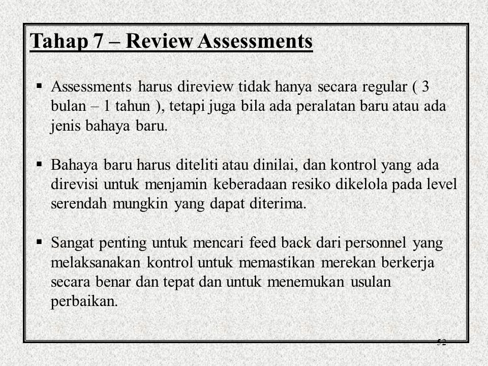 Tahap 7 – Review Assessments