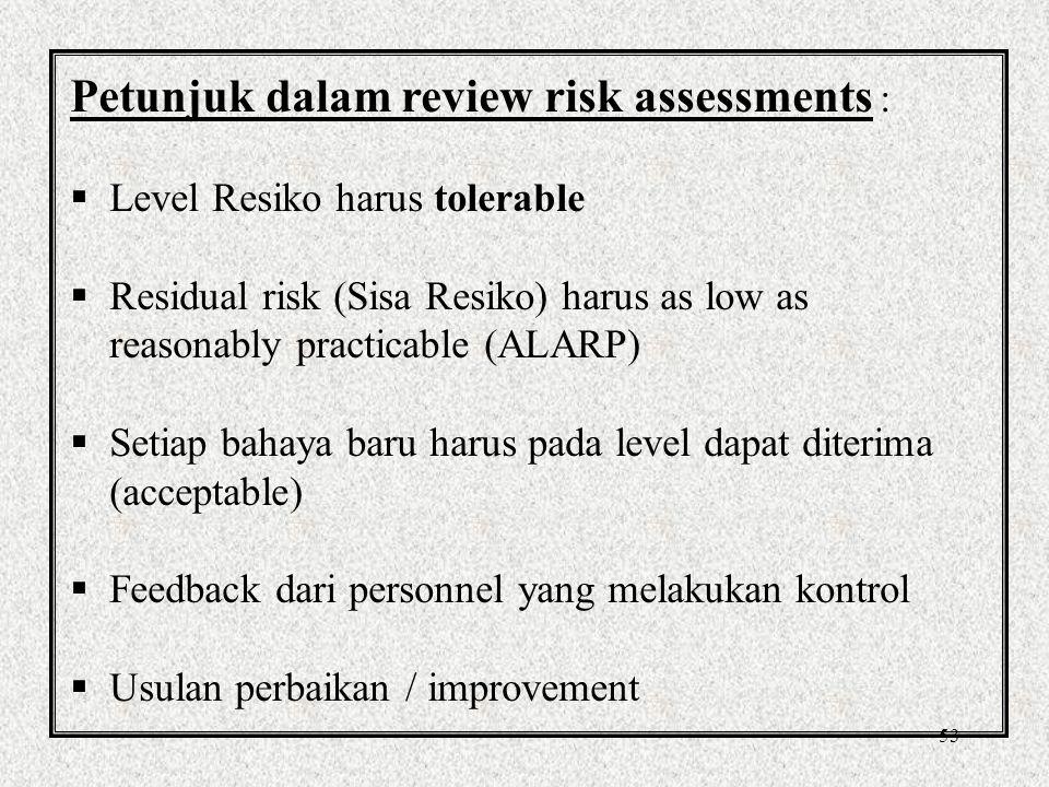 Petunjuk dalam review risk assessments :