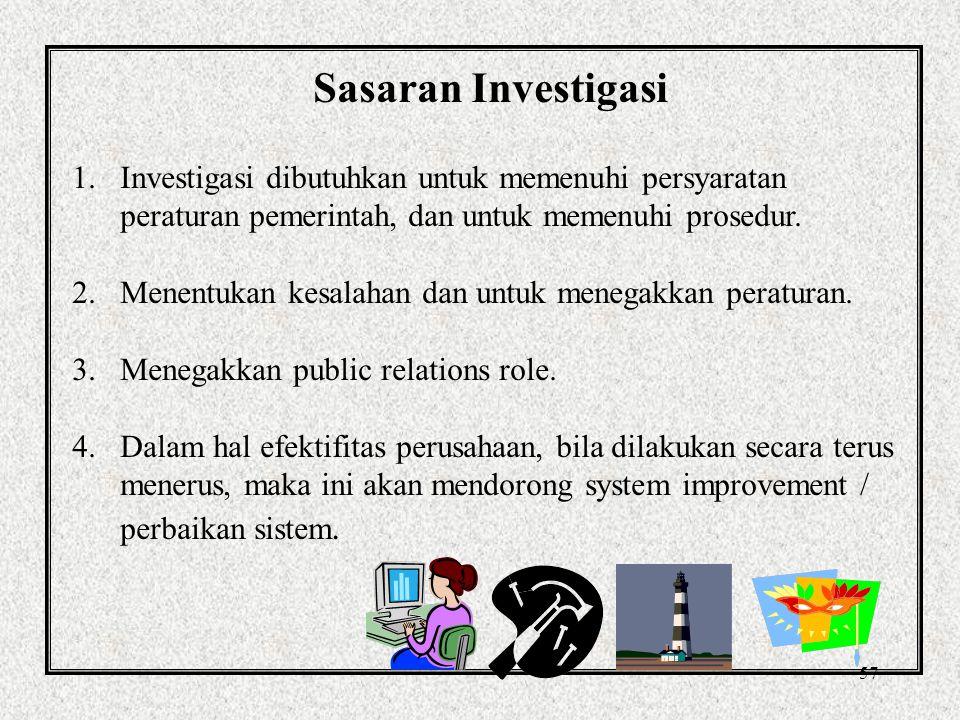 Sasaran Investigasi Investigasi dibutuhkan untuk memenuhi persyaratan peraturan pemerintah, dan untuk memenuhi prosedur.