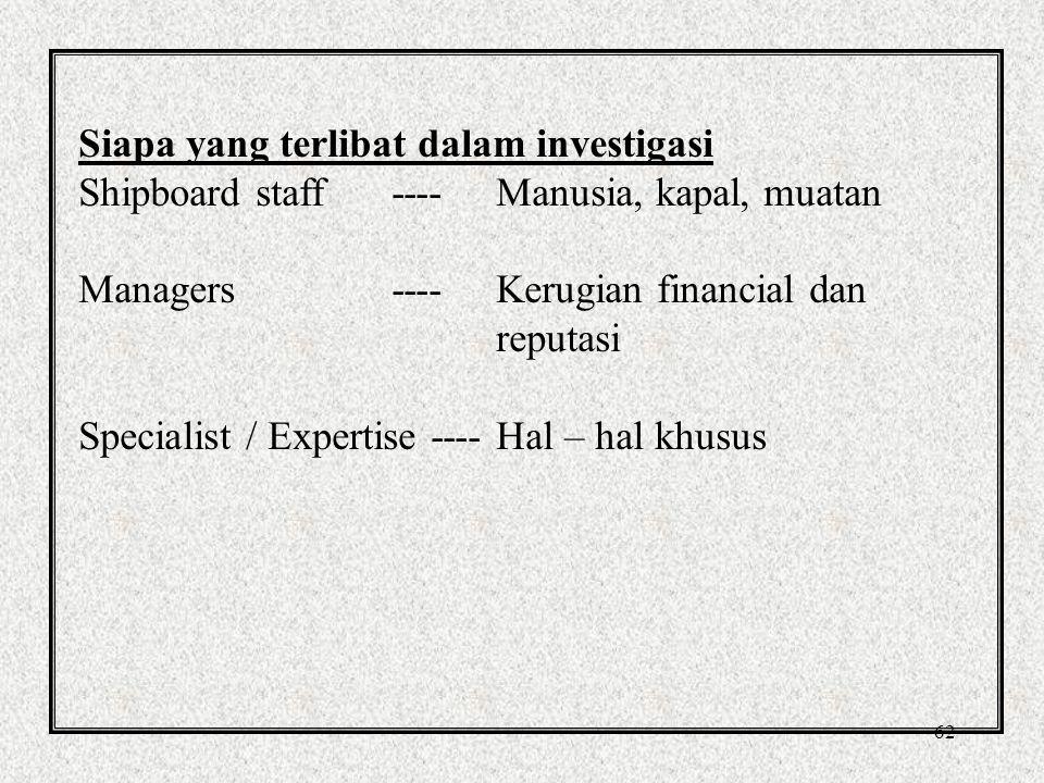 Siapa yang terlibat dalam investigasi