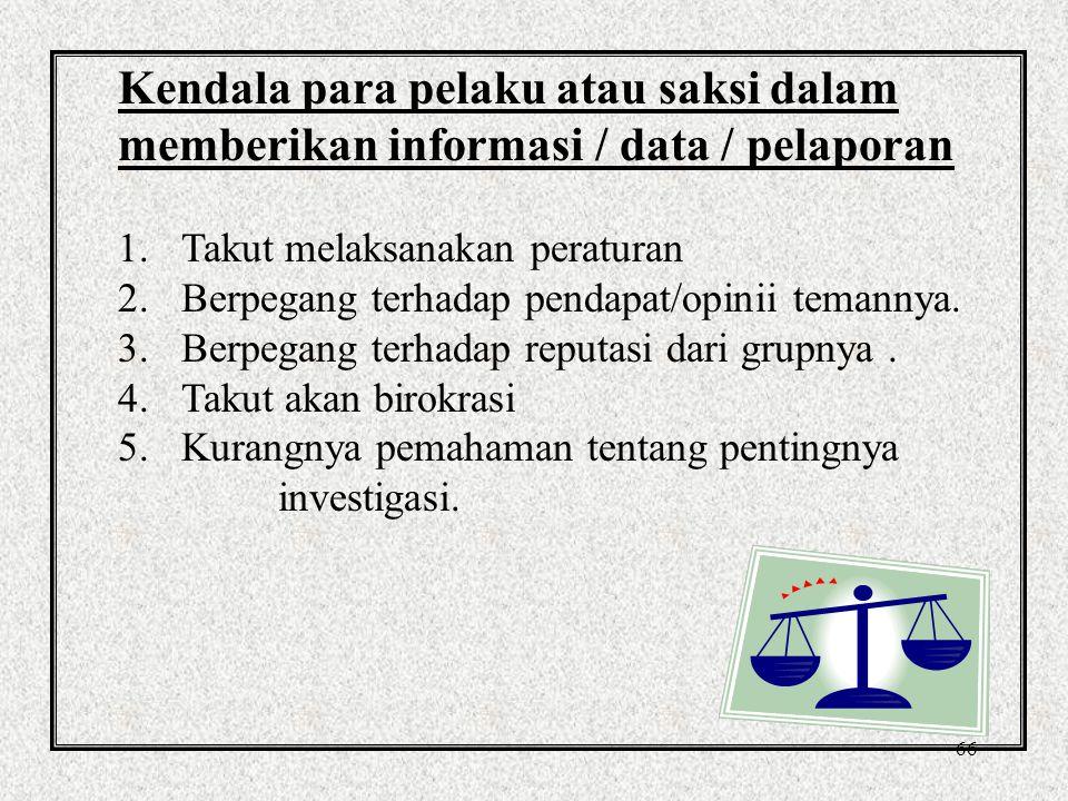 Kendala para pelaku atau saksi dalam memberikan informasi / data / pelaporan
