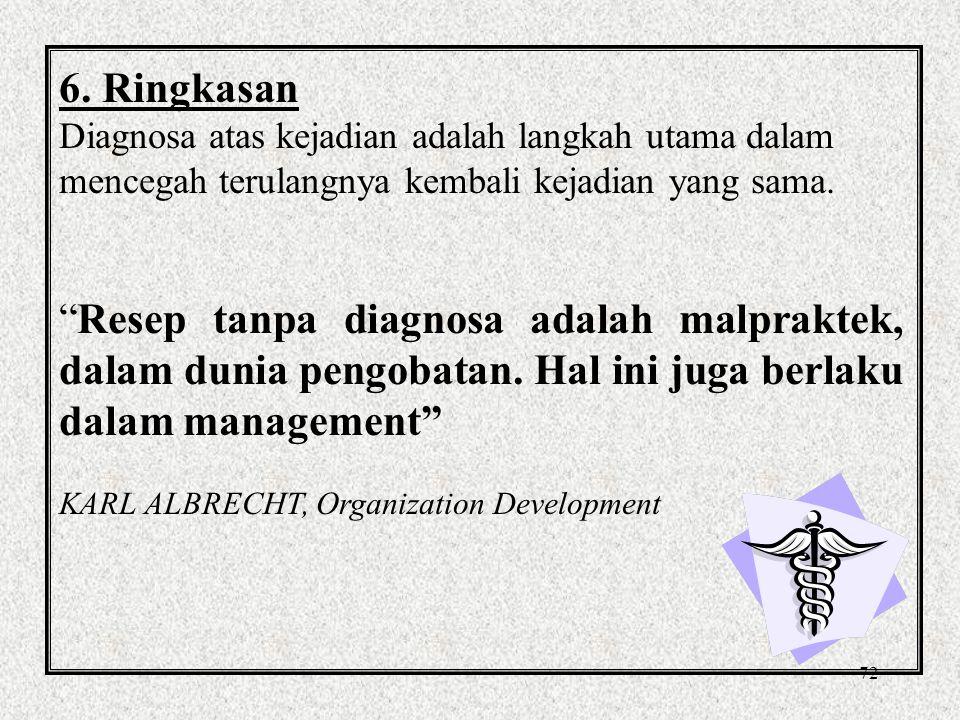 6. Ringkasan Diagnosa atas kejadian adalah langkah utama dalam mencegah terulangnya kembali kejadian yang sama.