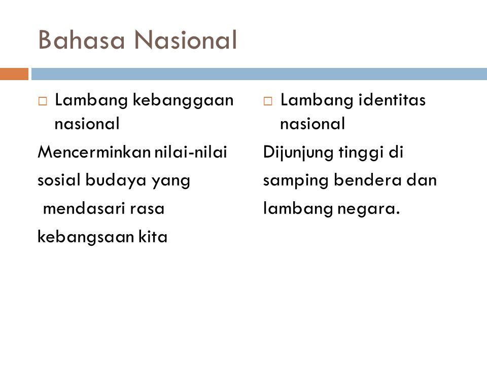 Bahasa Nasional Lambang kebanggaan nasional Mencerminkan nilai-nilai