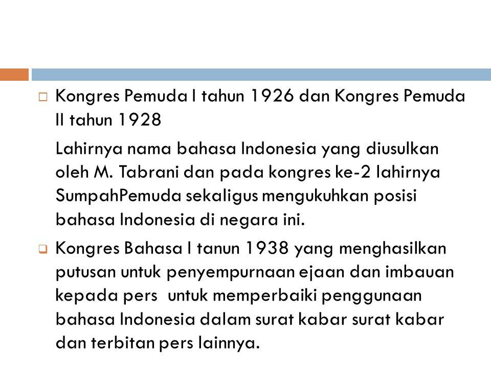 Kongres Pemuda I tahun 1926 dan Kongres Pemuda II tahun 1928