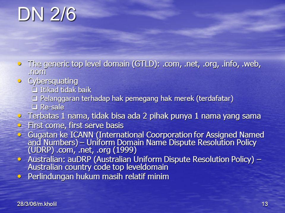DN 2/6 The generic top level domain (GTLD): .com, .net, .org, .info, .web, .nom. Cybersquating. Itikad tidak baik.