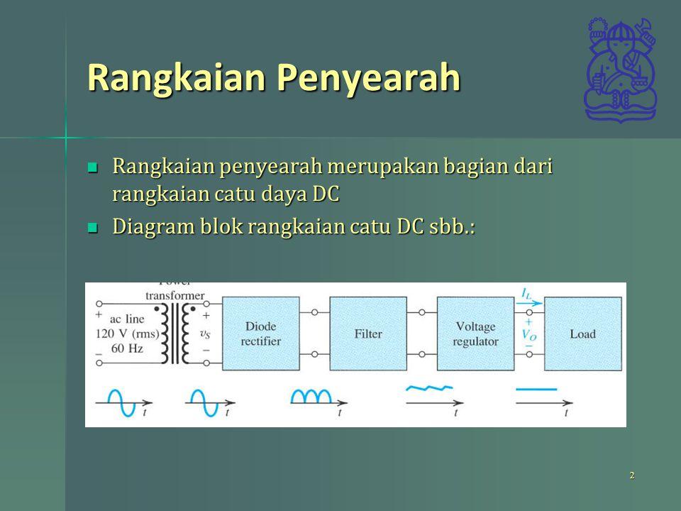 Rangkaian Penyearah Rangkaian penyearah merupakan bagian dari rangkaian catu daya DC. Diagram blok rangkaian catu DC sbb.: