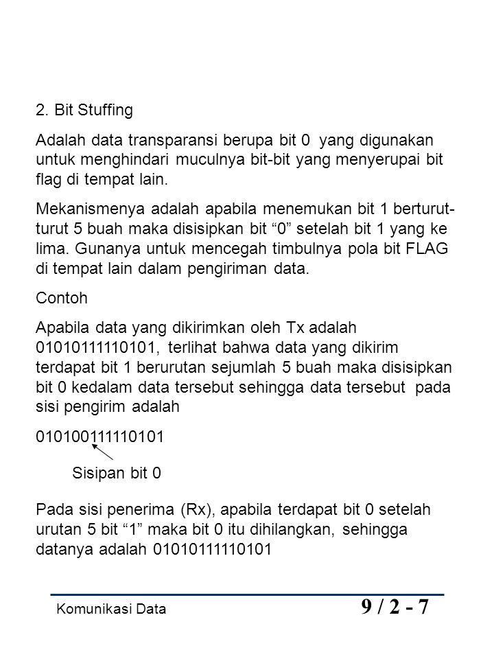 2. Bit Stuffing Adalah data transparansi berupa bit 0 yang digunakan untuk menghindari muculnya bit-bit yang menyerupai bit flag di tempat lain.