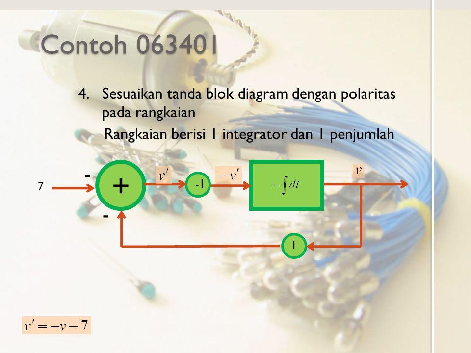 Contoh 063401 Sesuaikan tanda blok diagram dengan polaritas pada rangkaian. Rangkaian berisi 1 integrator dan 1 penjumlah.