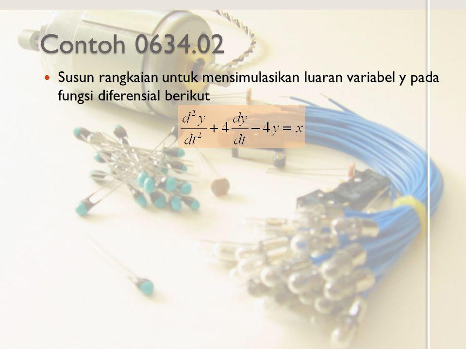 Contoh 0634.02 Susun rangkaian untuk mensimulasikan luaran variabel y pada fungsi diferensial berikut.