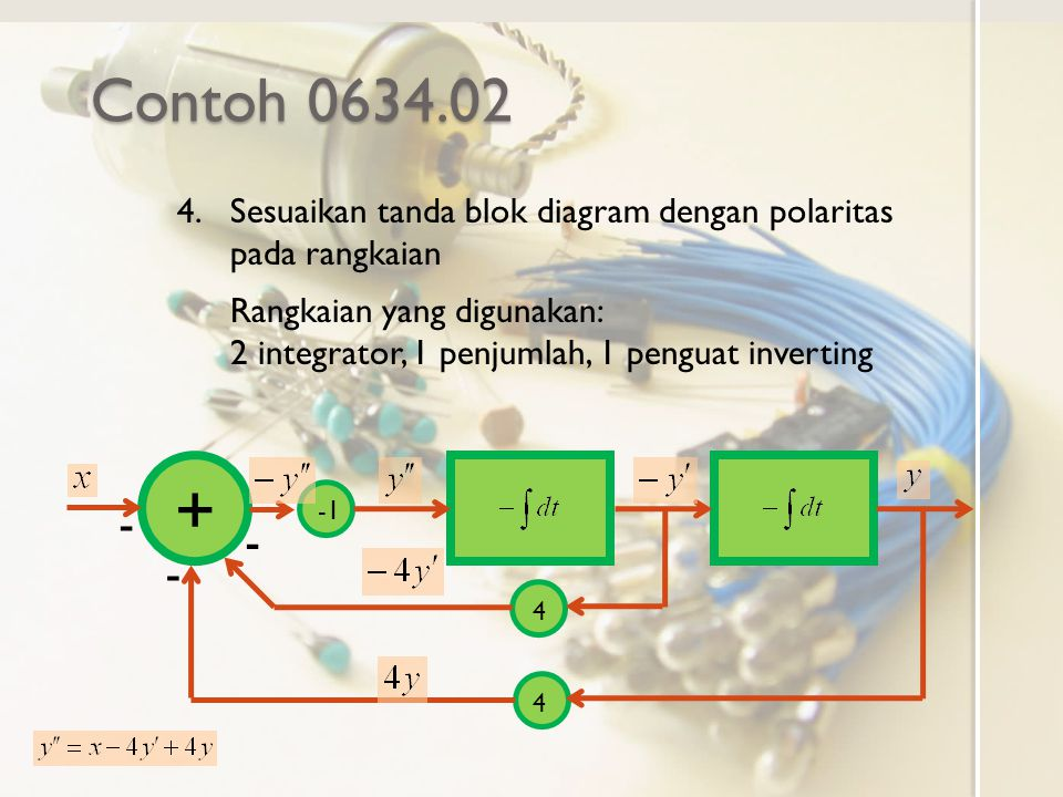 Contoh 0634.02 Sesuaikan tanda blok diagram dengan polaritas pada rangkaian.