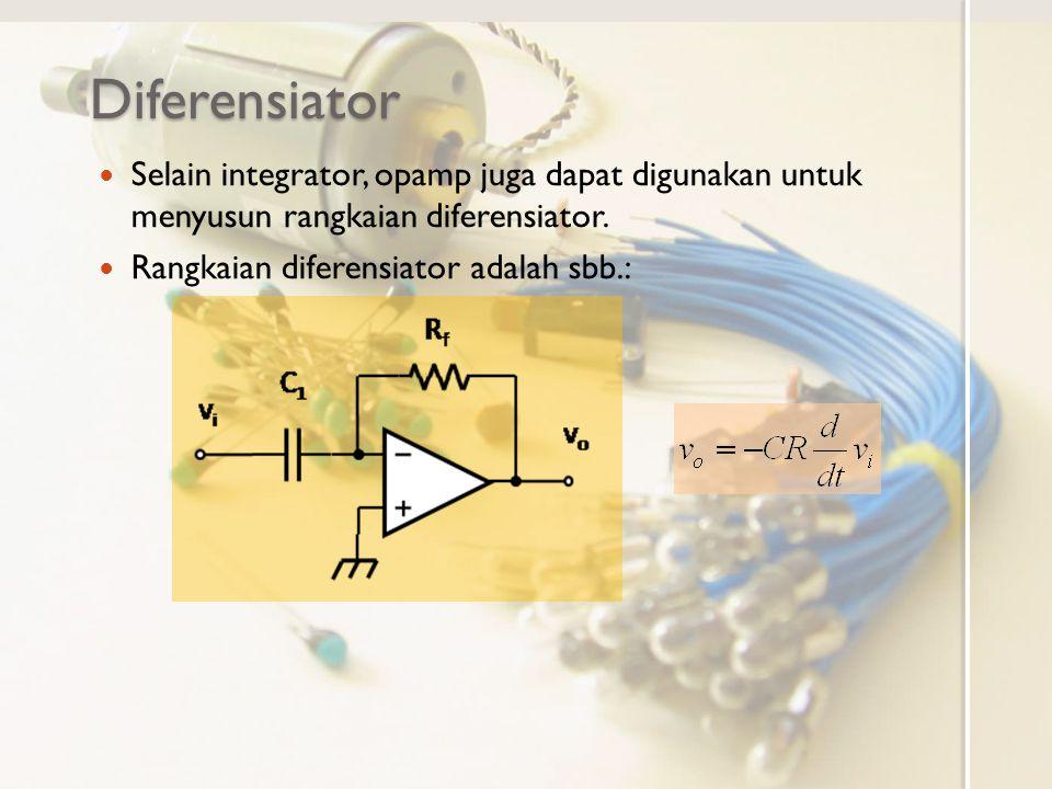 Diferensiator Selain integrator, opamp juga dapat digunakan untuk menyusun rangkaian diferensiator.