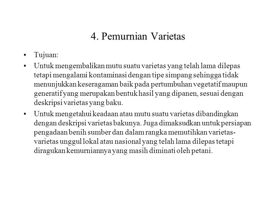 4. Pemurnian Varietas Tujuan: