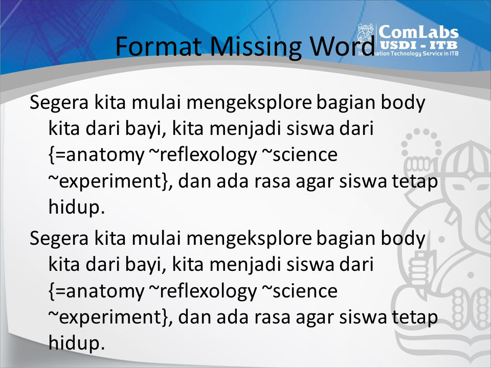 Format Missing Word