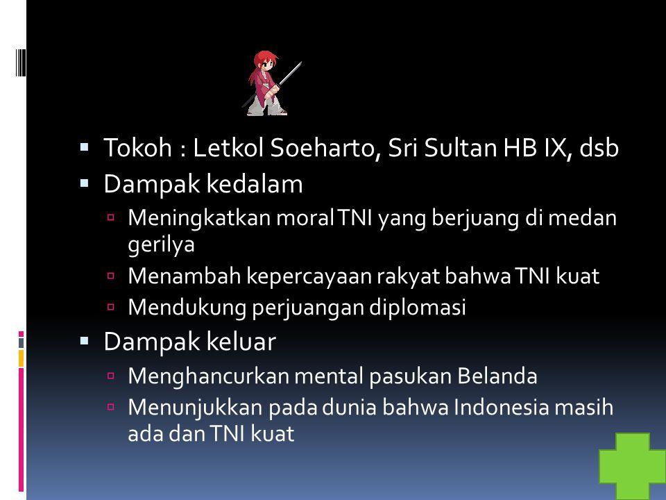 Tokoh : Letkol Soeharto, Sri Sultan HB IX, dsb Dampak kedalam