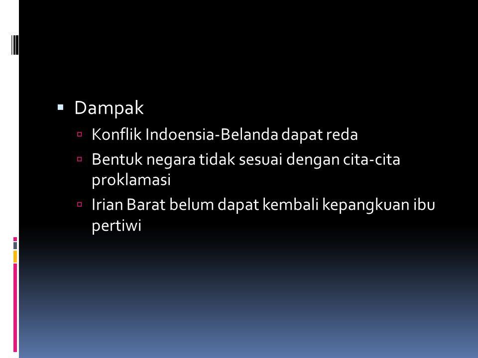 Dampak Konflik Indoensia-Belanda dapat reda