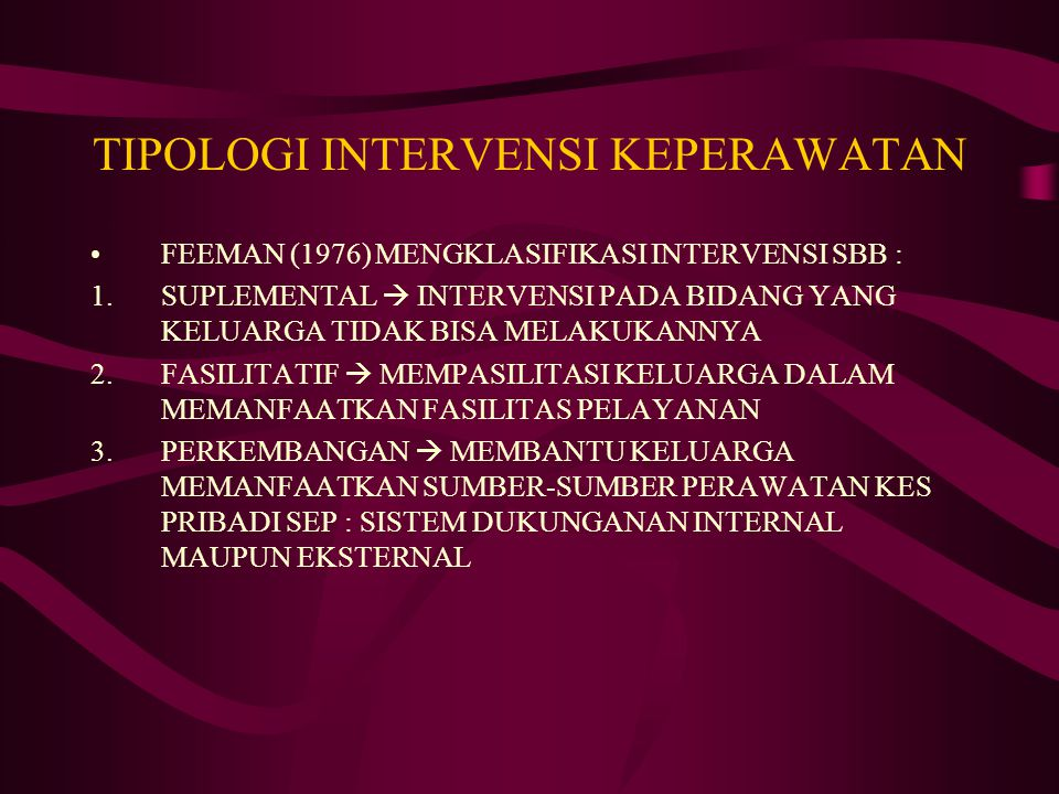 TIPOLOGI INTERVENSI KEPERAWATAN