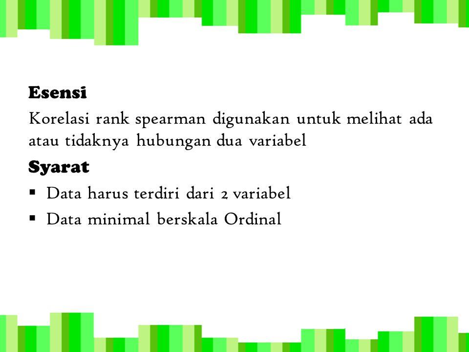 Esensi Korelasi rank spearman digunakan untuk melihat ada atau tidaknya hubungan dua variabel. Syarat.