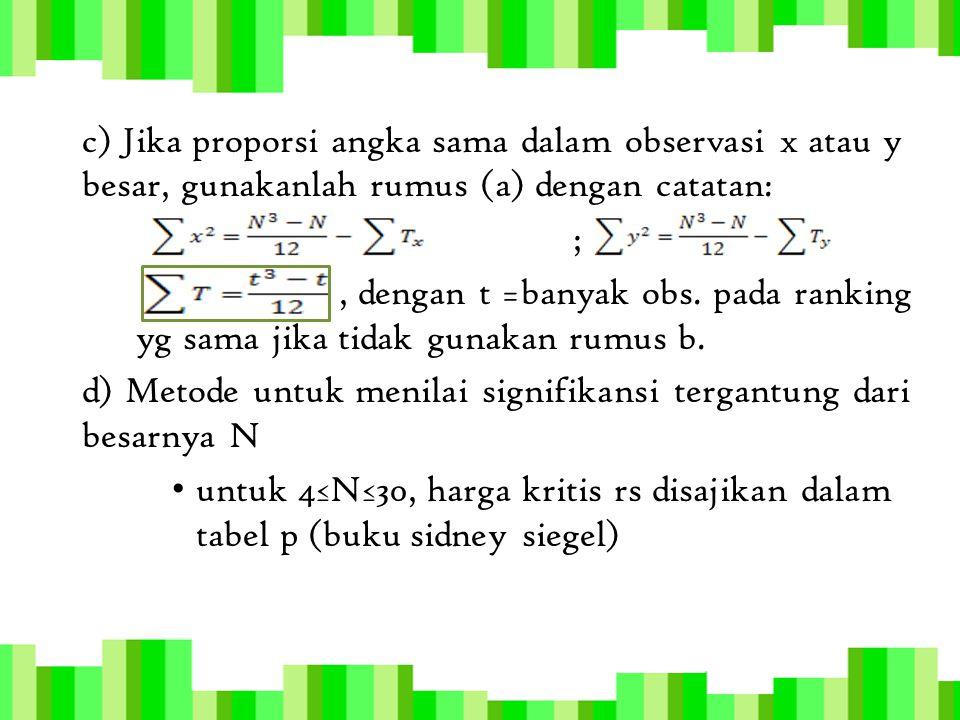 d) Metode untuk menilai signifikansi tergantung dari besarnya N