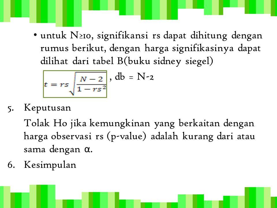 untuk N≥10, signifikansi rs dapat dihitung dengan rumus berikut, dengan harga signifikasinya dapat dilihat dari tabel B(buku sidney siegel)
