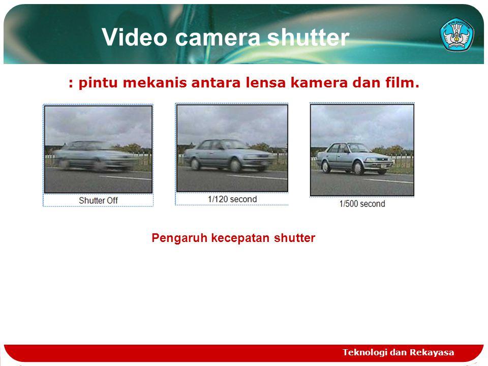 : pintu mekanis antara lensa kamera dan film.