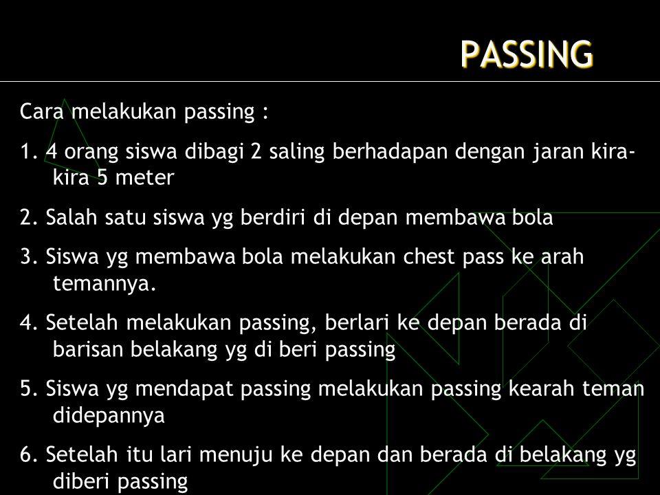 PASSING Cara melakukan passing :