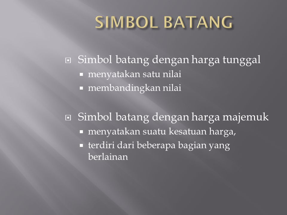 SIMBOL BATANG Simbol batang dengan harga tunggal