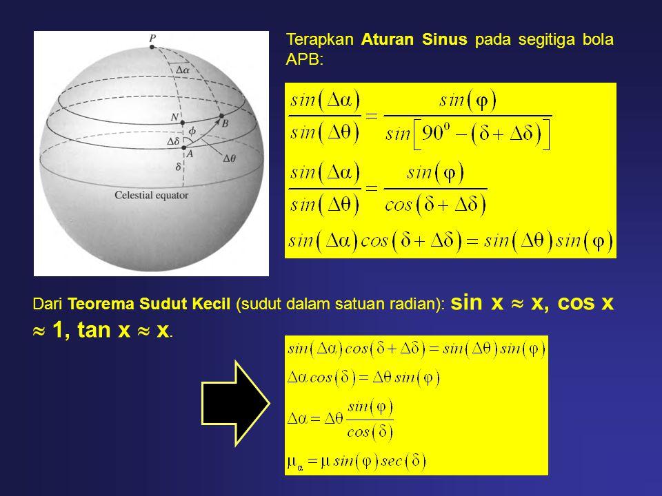 Terapkan Aturan Sinus pada segitiga bola APB: