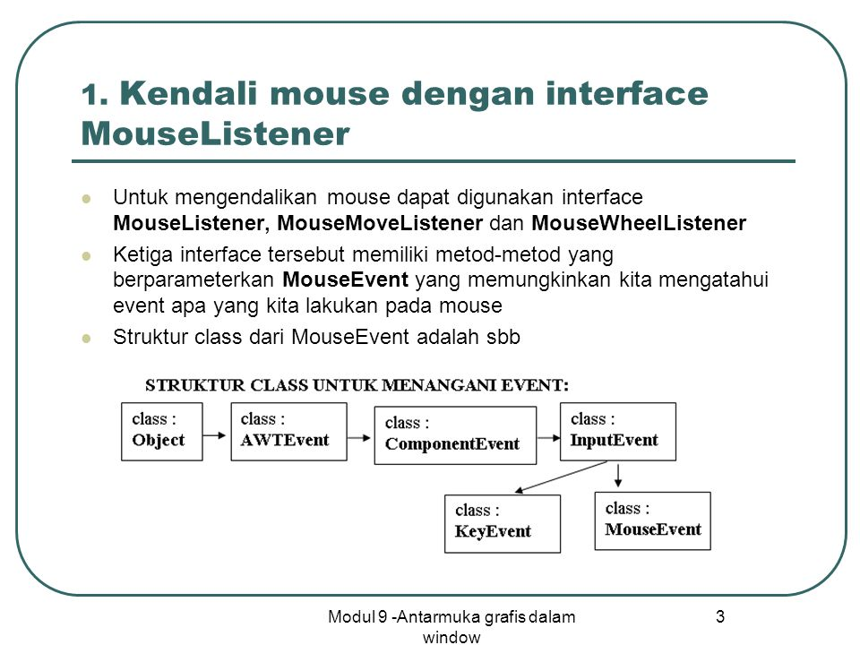 1. Kendali mouse dengan interface MouseListener