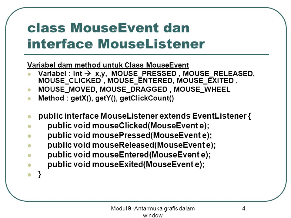 class MouseEvent dan interface MouseListener