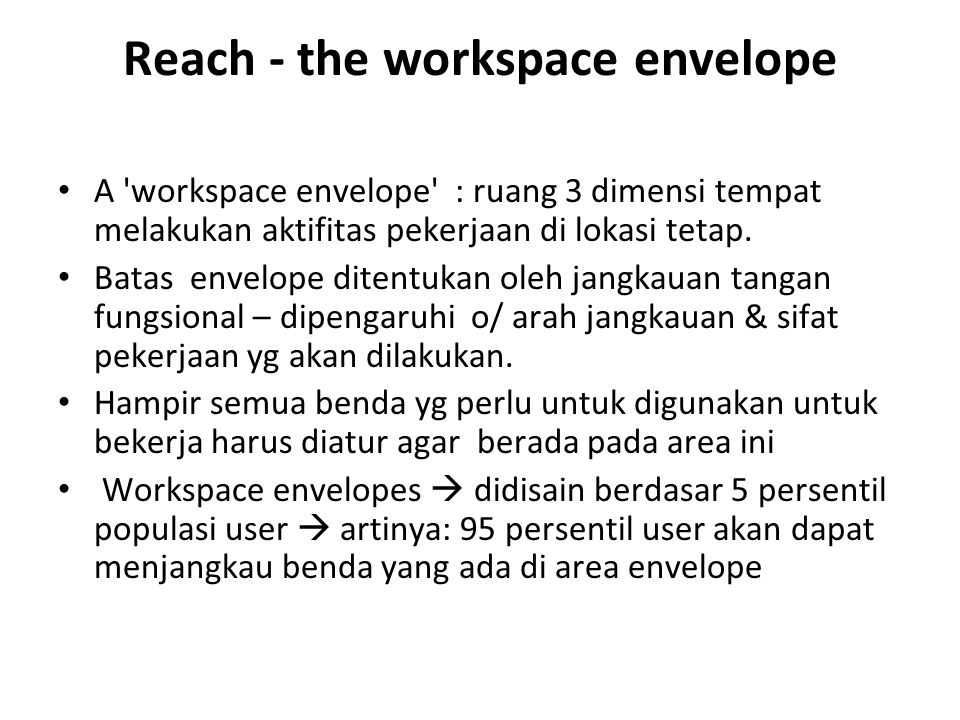 Reach - the workspace envelope