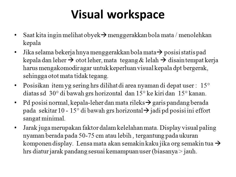 Visual workspace Saat kita ingin melihat obyek menggerakkan bola mata / menolehkan kepala.