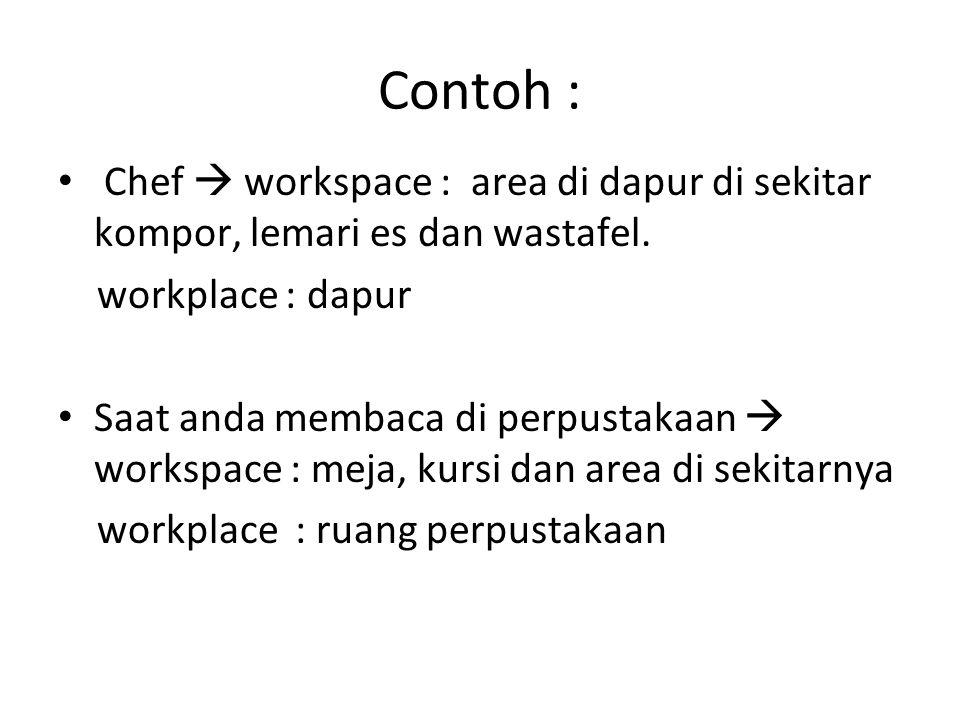Contoh : Chef  workspace : area di dapur di sekitar kompor, lemari es dan wastafel. workplace : dapur.