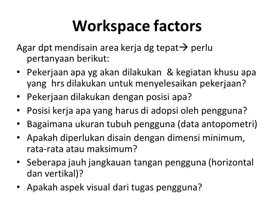 Workspace factors Agar dpt mendisain area kerja dg tepat perlu pertanyaan berikut: