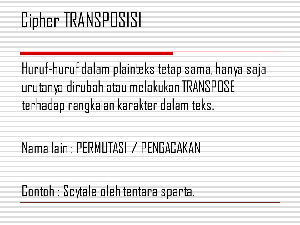 Cipher TRANSPOSISI