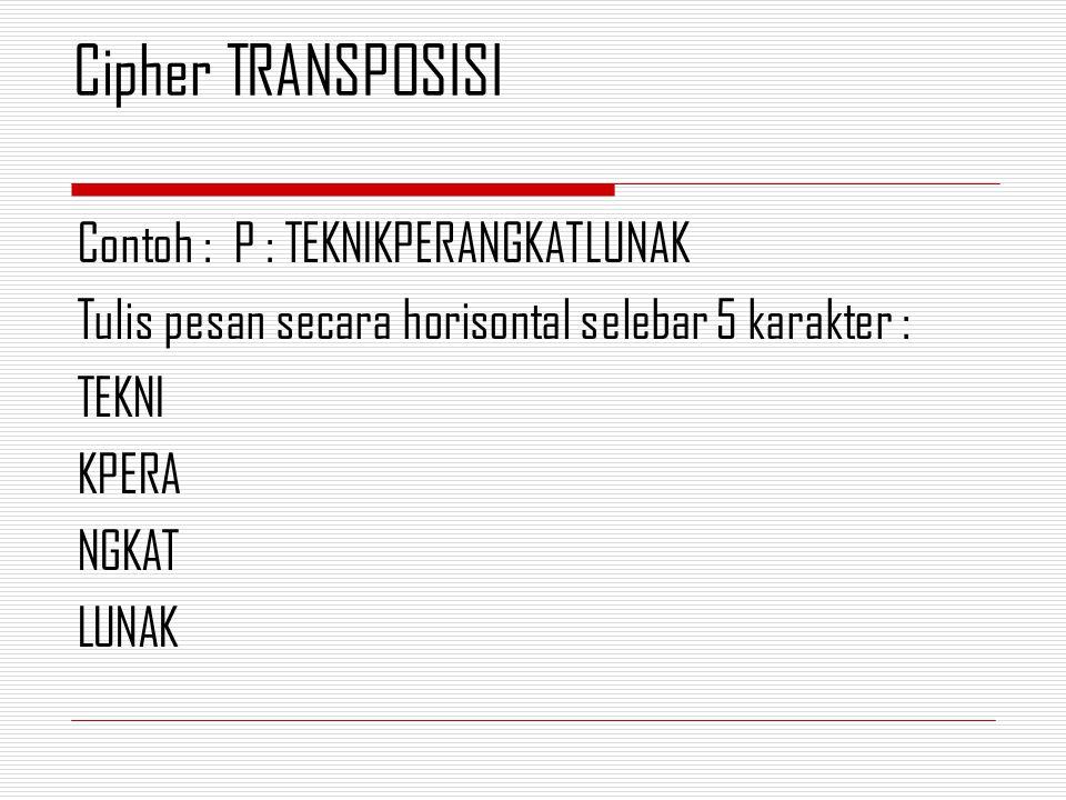 Cipher TRANSPOSISI Contoh : P : TEKNIKPERANGKATLUNAK