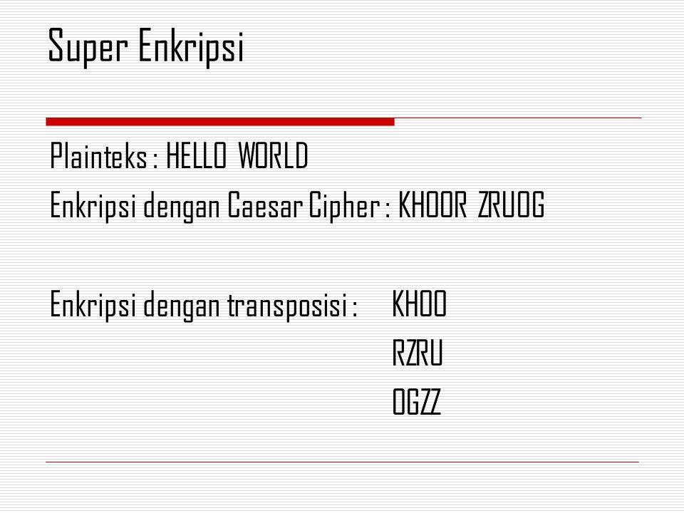 Super Enkripsi Plainteks : HELLO WORLD