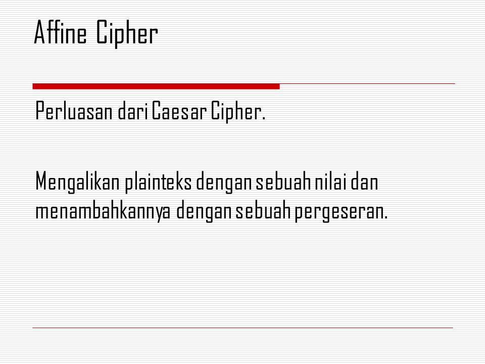 Affine Cipher Perluasan dari Caesar Cipher.