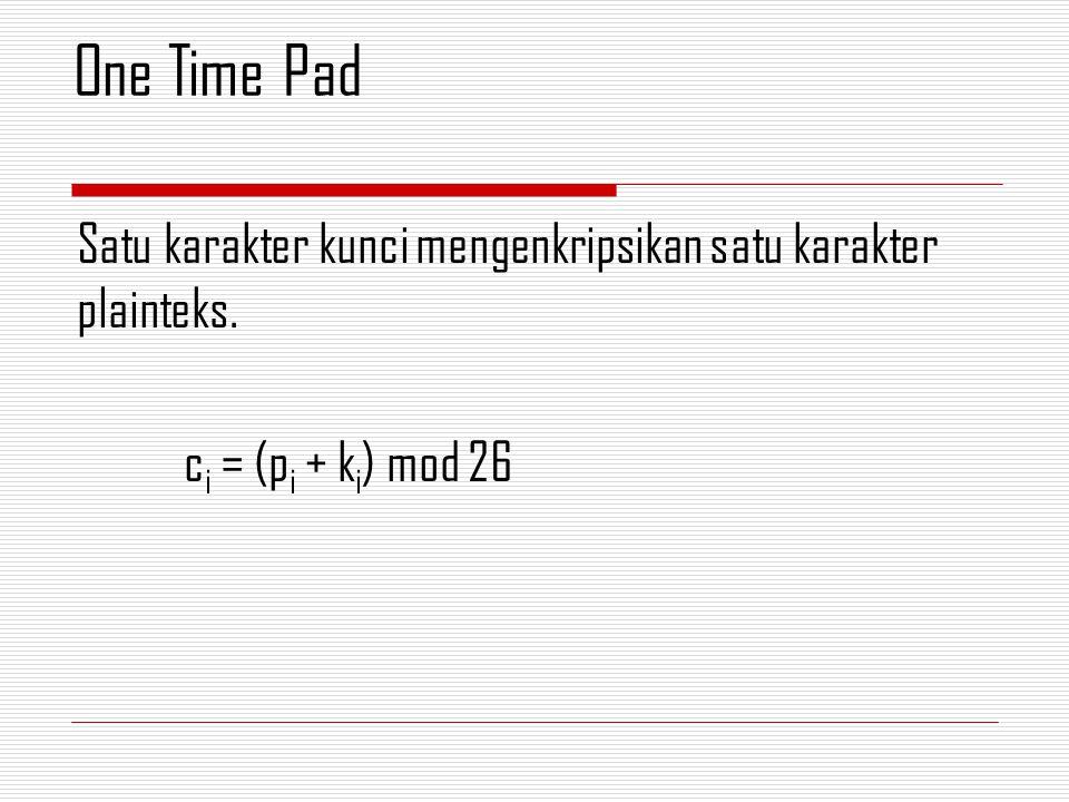 One Time Pad Satu karakter kunci mengenkripsikan satu karakter plainteks. ci = (pi + ki) mod 26