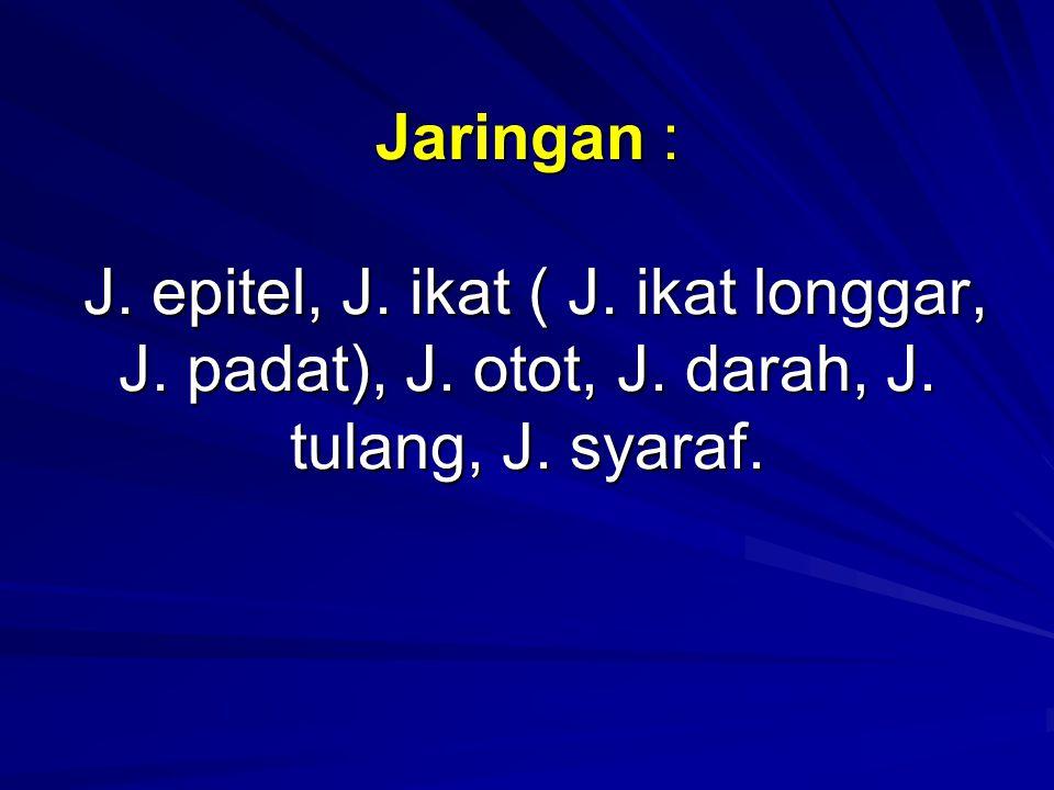 Jaringan : J. epitel, J. ikat ( J. ikat longgar, J. padat), J. otot, J