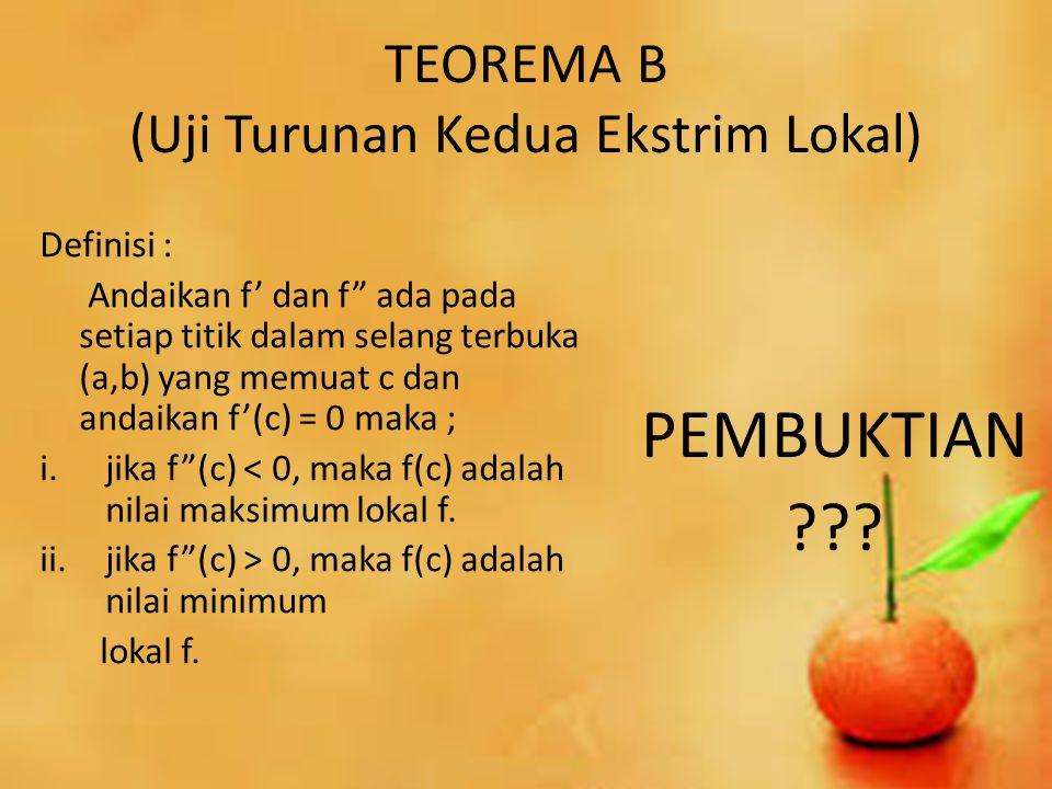 TEOREMA B (Uji Turunan Kedua Ekstrim Lokal)
