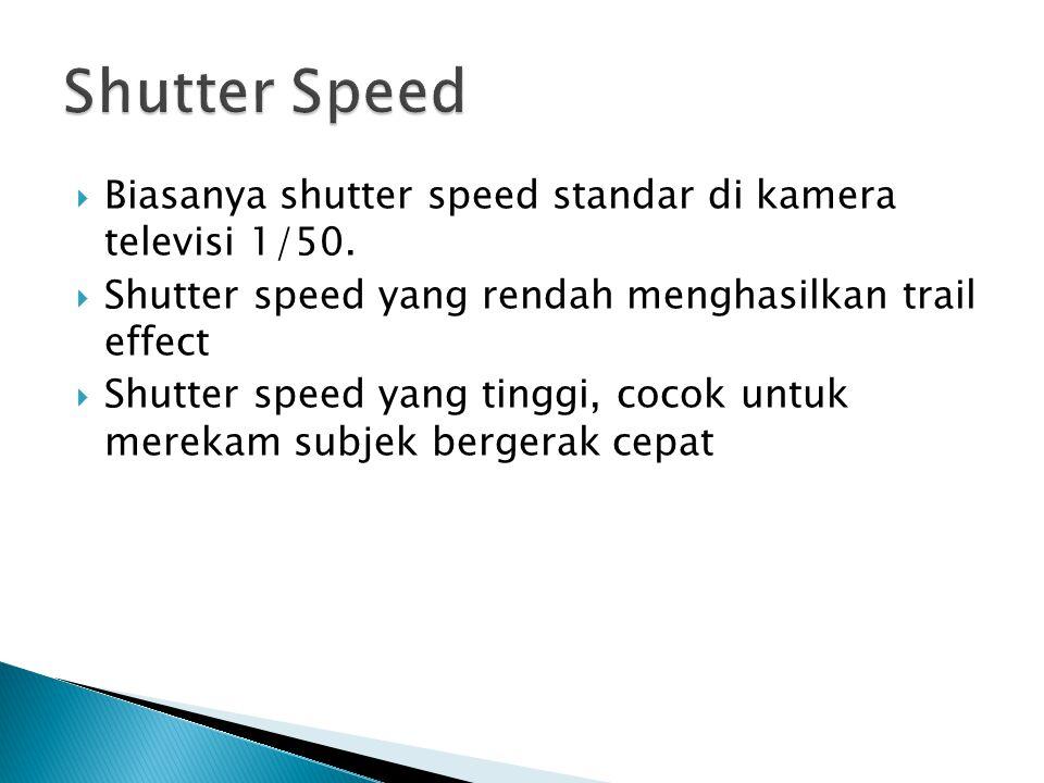 Shutter Speed Biasanya shutter speed standar di kamera televisi 1/50.