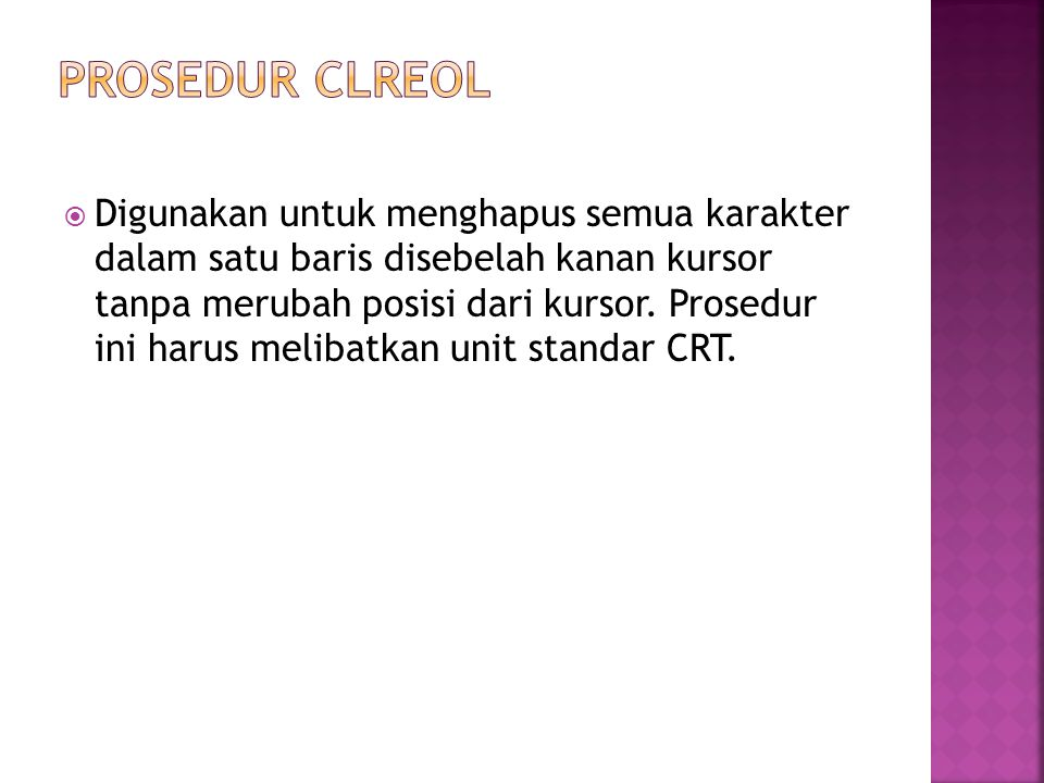 PROSEDUR CLREOL