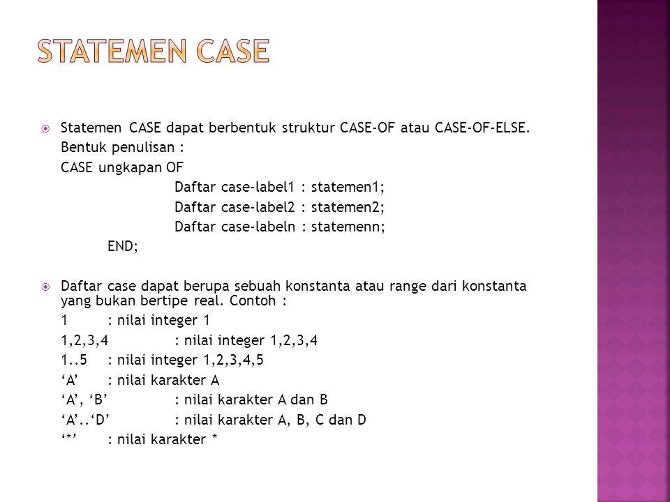STATEMEN CASE Statemen CASE dapat berbentuk struktur CASE-OF atau CASE-OF-ELSE. Bentuk penulisan :