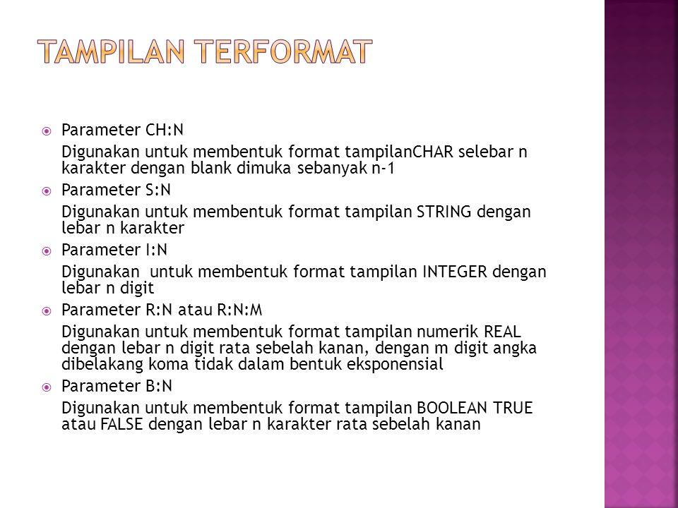 TAMPILAN TERFORMAT Parameter CH:N
