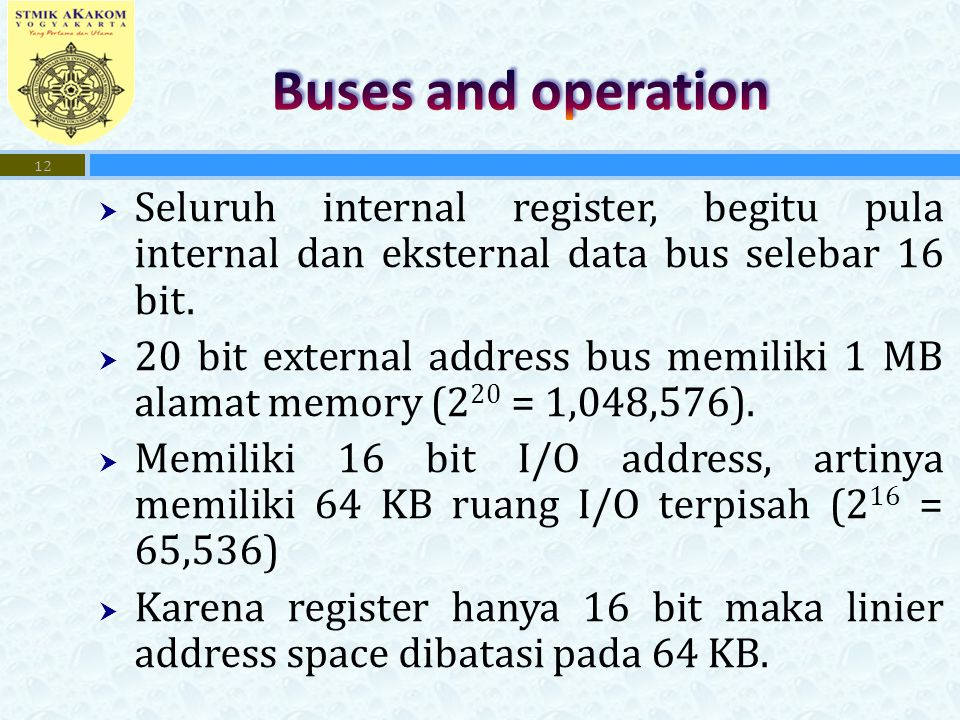Buses and operation Seluruh internal register, begitu pula internal dan eksternal data bus selebar 16 bit.