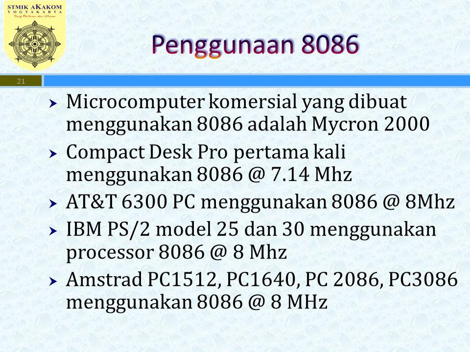 Penggunaan 8086 Microcomputer komersial yang dibuat menggunakan 8086 adalah Mycron 2000. Compact Desk Pro pertama kali menggunakan 8086 @ 7.14 Mhz.
