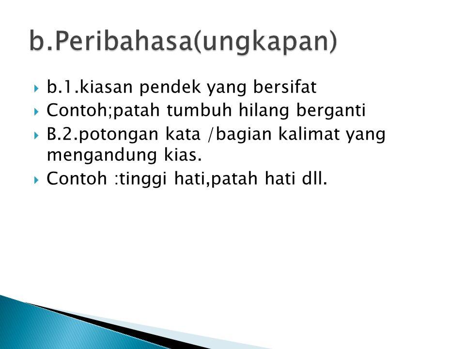 b.Peribahasa(ungkapan)